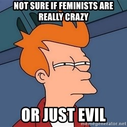 Futurama Fry - Not sure if feminists are really crazy or just evil