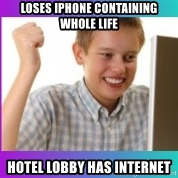 first time internet-kid - loses iphone containing whole life hotel lobby has internet
