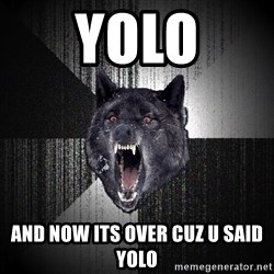 Insanity Wolf - yolo and now its over cuz u said yolo