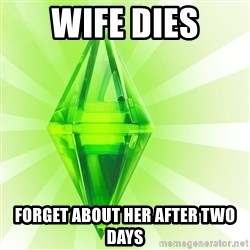 Sims - Wife Dies forget about her after two days