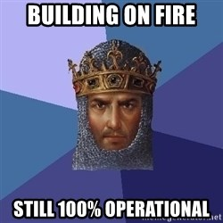 Age Of Empires - Building on fire still 100% operational