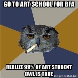 Art Student Owl - Go to art school for bfa realize 99% of Art Student owl is true