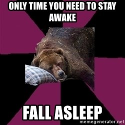 Sleep Disorder Grizzly - only time you need to stay awake fall asleep