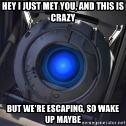 Portal Wheatley - Hey i just met you, and this is crazy but we're escaping, so wake up maybe