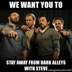 avengers pointing - We want you to  stay away from dark alleys with steve