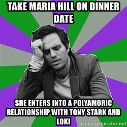 Forever Alone Bruce - TAKE MARIA HILL ON DINNER DATE SHE ENTERS INTO A POLYAMORIC RELATIONSHIP WITH TONY STARK AND LOKI