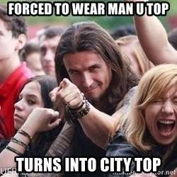 Ridiculously Photogenic Metalhead Guy - forced to wear man u top turns into city top