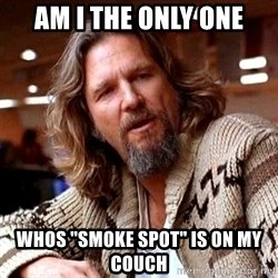 """Big Lebowski - AM I THE ONLY ONE WHOS """"SMOKE SPOT"""" IS ON MY COUCH"""