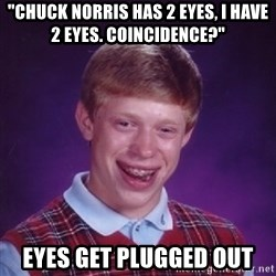"""Bad Luck Brian - """"Chuck Norris has 2 eyes, I have 2 eyes. coincidence?"""" Eyes get plugged out"""