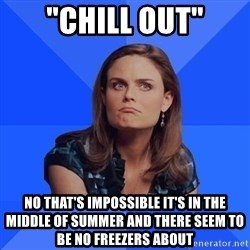 "Socially Awkward Brennan - ""Chill out"" No that's impossible it's in the middle of summEr and there seem to be no freezers about"