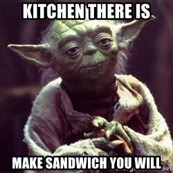 Yoda - kitchen there is make sandwich you will
