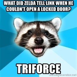 Lame Pun Coon - what did zelda tell link when he couldn't open a locked door? triforce