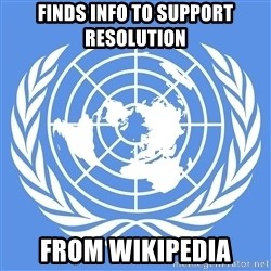 Typical Model UN - finds info to support resolution from wikipedia