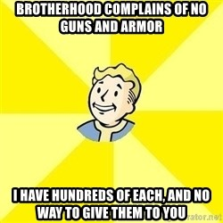 Fallout 3 - Brotherhood complains of no guns and armor I have hundreds of each, and no way to give them to you