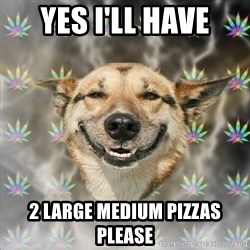 Stoner Dog - yes i'll have 2 large medium pizzas please