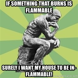 Overly-Literal Thinker - if something that burns is flammable surely i want my house to be in-flammable!