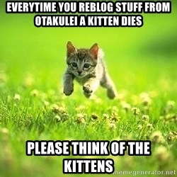 God Kills A Kitten - Everytime you reblog stuff from otakulei a kitten dies Please think of the kittens