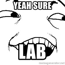 I see what you did there - yeah sure lab