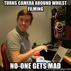 Ridiculously Photogenic Journalist - turns camera around whilst filming no-one gets mad