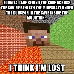 Minecraft Guy - found a cave behind the cave across the ravine beneath the mineshaft under the dungeon in the cave inside the mountain... I think I'm lost