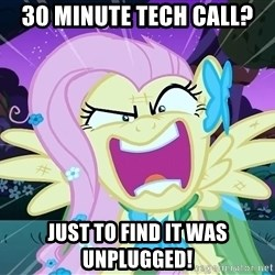 angry-fluttershy - 30 minute tech call? just to find it was UNPLUGGED!