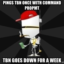 TheBotNet Mascot - pings tbn once with command propmt TBN goes down for a week