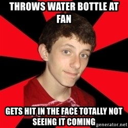the snob - throws water bottle at fan  gets hit in the face totally not seeing it coming