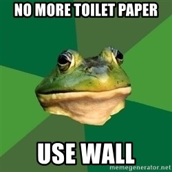 Foul Bachelor Frog - No more toilet paper Use wall