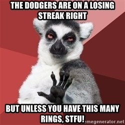 Chill Out Lemur - the dodgers are on a losing streak right but unless you have this many rings, stfu!