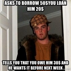 Scumbag Steve - asks to borrow 50$you loan him 20$ tells you that you owe him 30$ and he wants it before next week