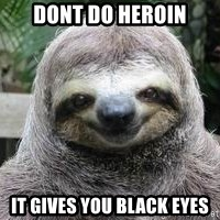 Sexual Sloth - dont do heroin it gives you black eyes