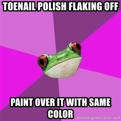 Foul Bachelorette Frog - TOENAil polish flaking off paint over it with same color