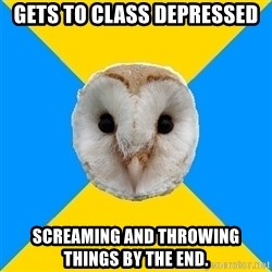 Bipolar Owl - Gets to class depressed Screaming and throwing things by the end.