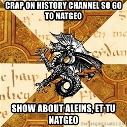 History Major Heraldic Beast - crap on History channel so go to Natgeo show about aleins, et tu natgeo