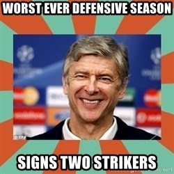 Arsene Wenger - worst ever defensive season signs two strikers