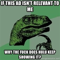 Philosoraptor - if this ad isn't relevant to me why the fuck does hulu keep showing it?