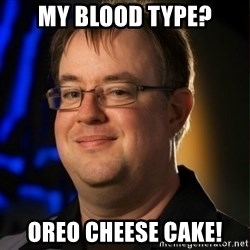 Jay Wilson Diablo 3 - my blood type? oreo cheese cake!