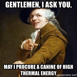 Joseph Ducreaux - Gentlemen, I ask you, May I procure a Canine of High thermal Energy