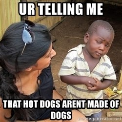 Skeptical African Child - ur telling me that hot dogs arent made of dogs