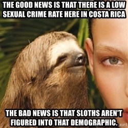 The Rape Sloth - THE GOOD NEWS IS THAT THERE IS A LOW SEXUAL CRIME RATE HERE IN COSTA RICA THE BAD NEWS IS THAT SLOTHS AREN'T FIGURED INTO THAT DEMOGRAPHIC.