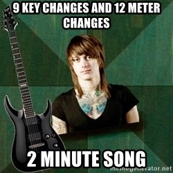 Progressive Guitarist - 9 key changes and 12 meter changes 2 minute song