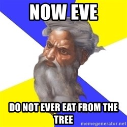 God - Now eve do not ever eat from the tree