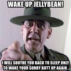 Angry Drill Sergeant - wake up jellybean! i will soothe you back to sleep only to wake your sorry butt up again.