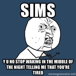 Y U No - sims y u no stop waking in the middle of the night telling me that you're tired