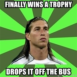 Sergio Ramos Penalti - finally wins a trophy drops it off the bus