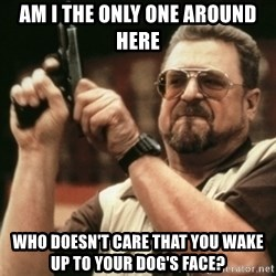 Walter Sobchak with gun - Am I the only one around here who doesn't care that you wake up to your dog's face?