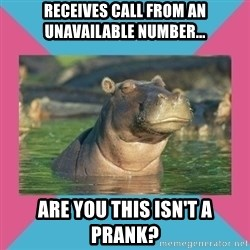 Skeptical hippo - Receives call from An Unavailable Number... Are You This isn't A Prank?