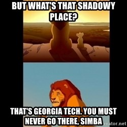 Lion King Shadowy Place - But what's that shadowy place? That's Georgia tech. You must never go there, simba
