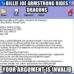Text - Billie joe armstrong rides  dragons your argument is invalid