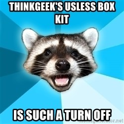 Lame Pun Coon - ThinkGeek's usless box kit Is such a turn off